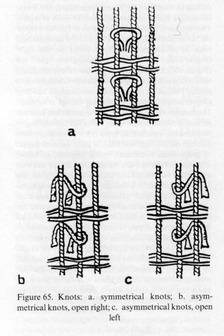 A weaver at a different kind of vertical loom