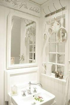 Shabby Chic Bathroom Open Floating Shelves for Storage