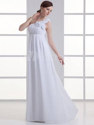 one shoulder flower wedding dress