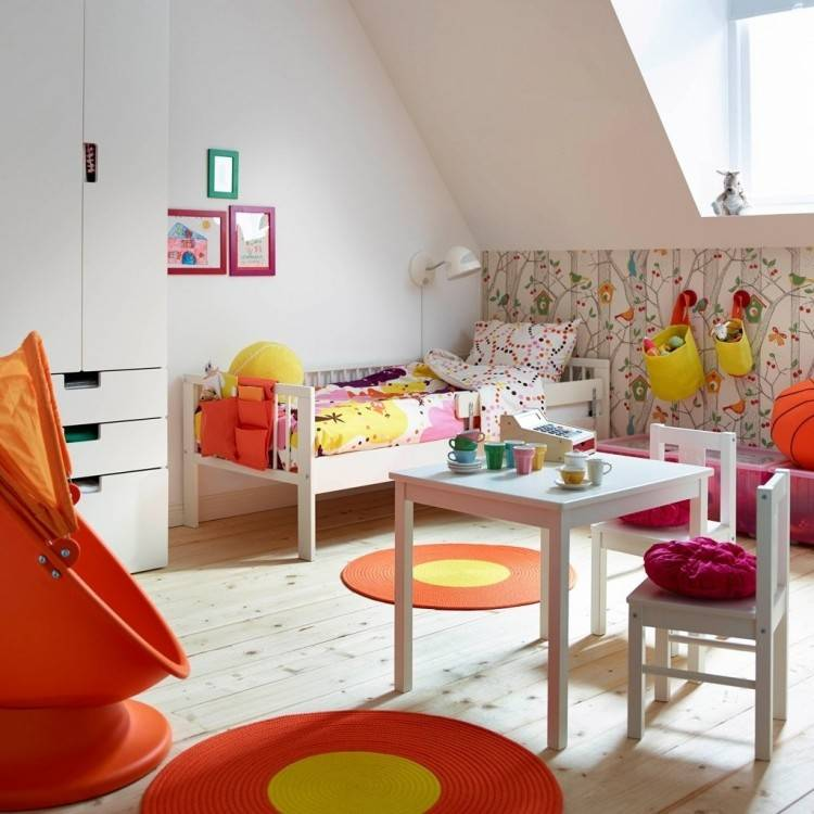 Colorful Kids Bedroom Design With Adorable Kids Storage Furniture Including  Bunk Bed With Underbed Storage Space And Wall Mounted Shelves For Kids And