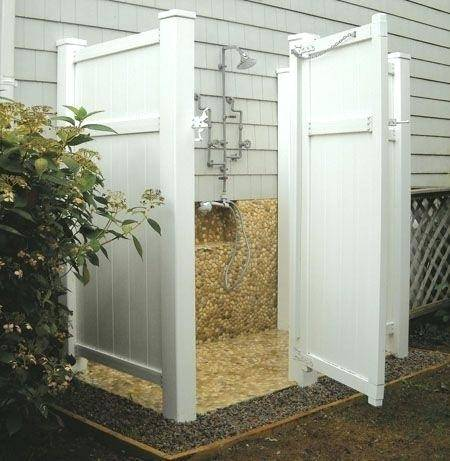 Our Cedar Outdoor Shower Enclosure as a house mount kit is our most popular  model
