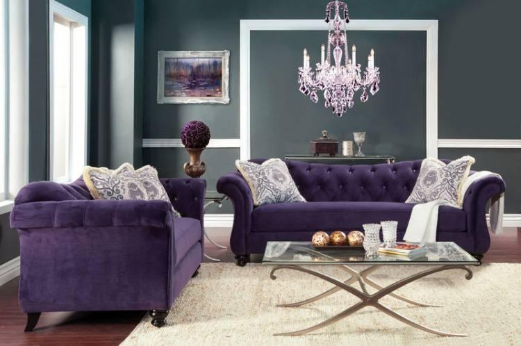 Antoinette Living Room Set in Purple
