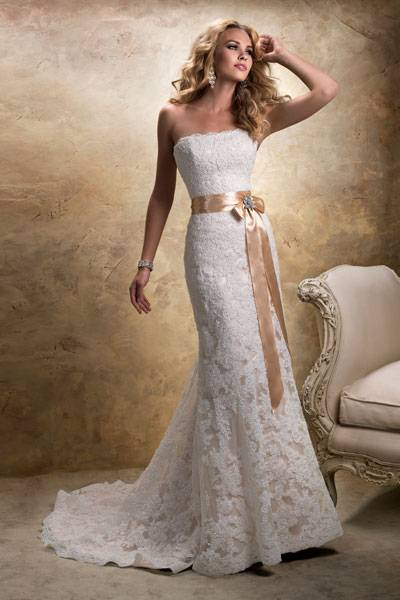 Maggie Sottero Champagne Janelle Formal Wedding Dress Size 4 (S)