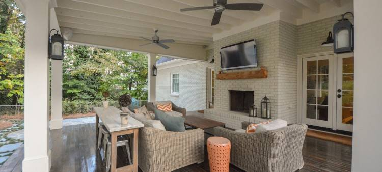 Sheltered decks and patios with large overhangs help create outdoor living  areas, which typically allow you to leave outdoor rugs and furniture  outside