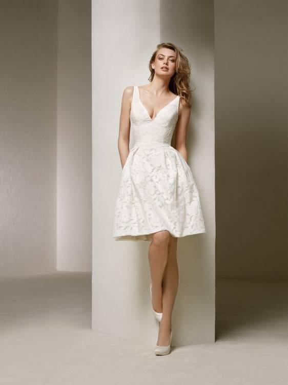 tea length short wedding dress with sleeves