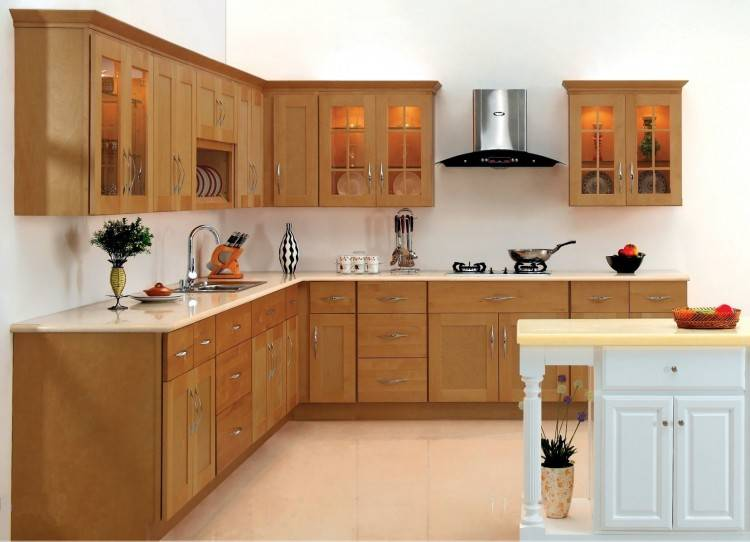 Line the top row of your cabinets with satin glass doors to give the room a  taller feel