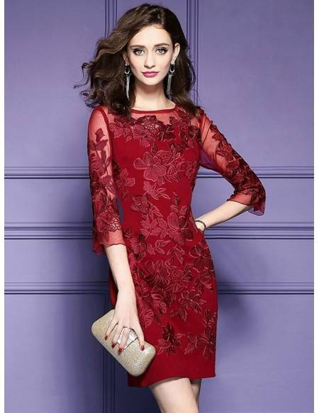 A burgundy dress for a wedding works for bridesmaids  or as a fall wedding guest outfit