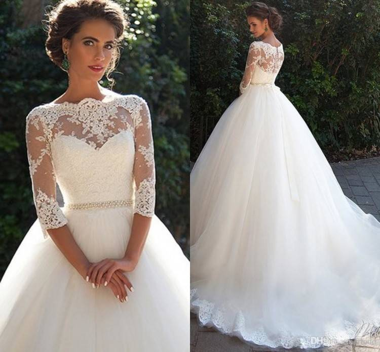 High Collar Sheer Long Sleeves Lace Ball Gown Wedding Dresses 2018 Vintage  Applique Lace Tulle Bridal Gowns Vestidos De Noiva Custom Made Colored  Wedding