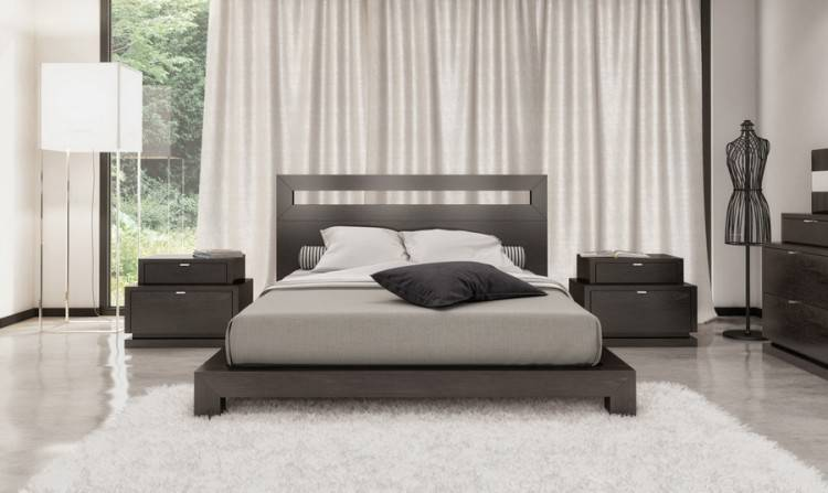 A simple and modern bedroom set in espresso brown