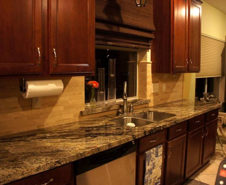 Designer Tiles For Kitchen Backsplash Fancy Round Dining Table Smooth Brown  Granite Countertop Fancy Wavy Yellow Plate Simple Polished Brown Wooden Bar