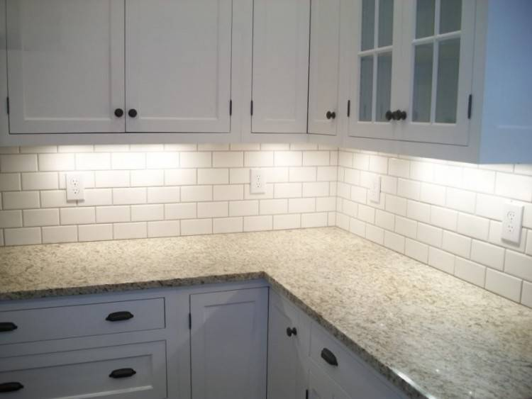 Astonishing  White Color Subway Tile Kitchen Backsplash Features Grey Color Wooden  Kitchen