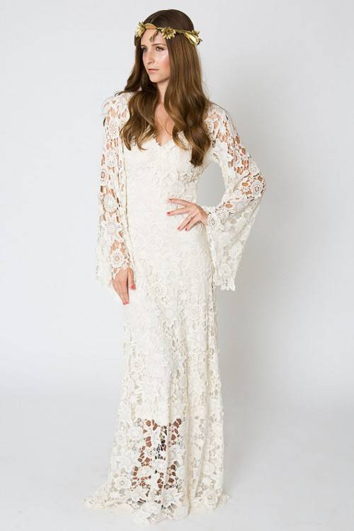 Discount Cheap Bohemian Wedding Dresses Lace A Line Sweep Train Scoop Lace  Up Bridal Gowns Nice Quality Robe De Mariée Gothic Wedding Dresses  Inexpensive