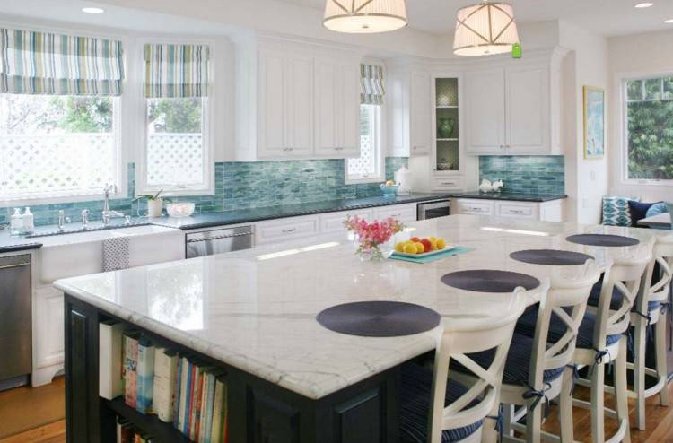 Copper tiles create a cool backsplash in the traditional kitchen [Design:  Welsh Construction]