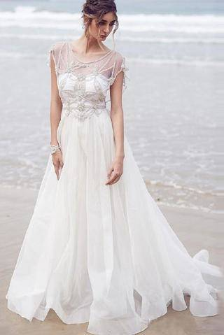 White Beach Wedding Dresses 2015 Lace Bridal Gowns Applique Sheer Illusion  Long Sleeves Split Prom Gowns Soft Chiffon Wedding Gowns Cheap Online with