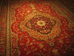 The photo shows the world's largest carpet woven in the northeastern Iranian  city of Neishabour