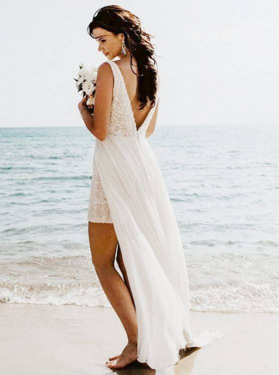 Beach wedding dress, long wedding dress, affordable wedding dress, tulle wedding  dress,