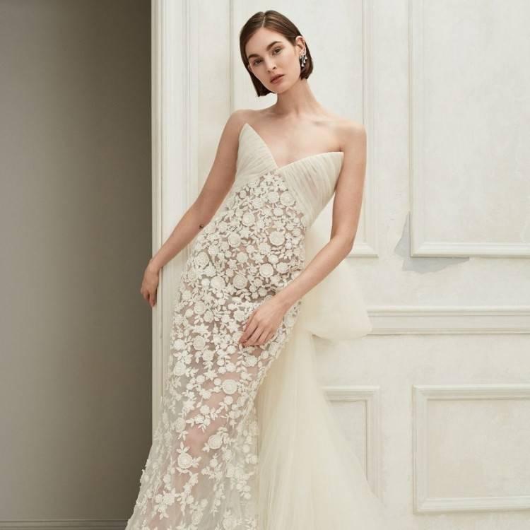 floral off the shoulder ivory a line long romantic wedding dress