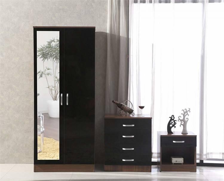 Three piece black high gloss and walnut bedroom furniture