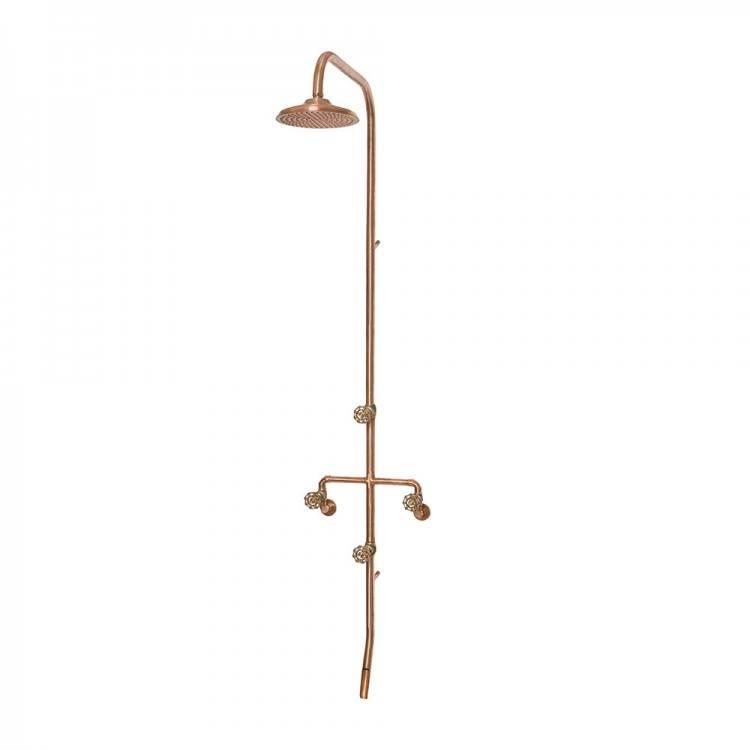 of slightly garden obsessed has showcased her copper brass outdoor shower  fittings in this gardens corner