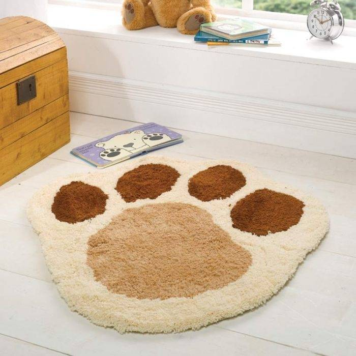 Bedroom Floor Mat Vinatge Paw Print Antiskid Soft Home Doormat