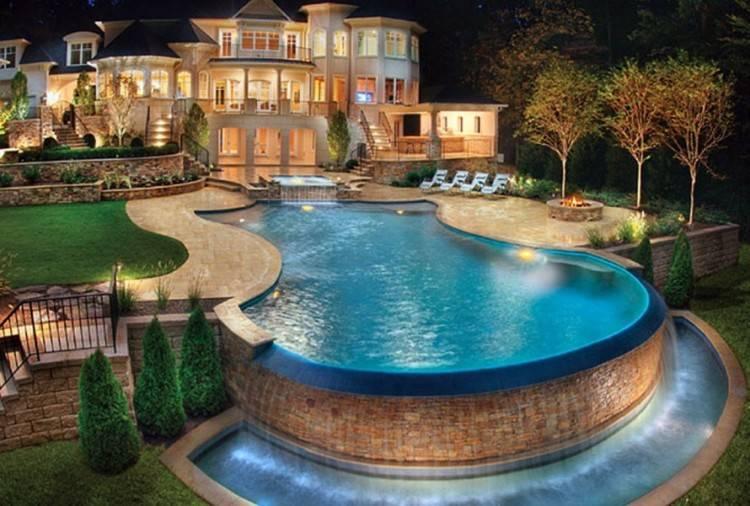 Modern pool design in the backyard of a modern home