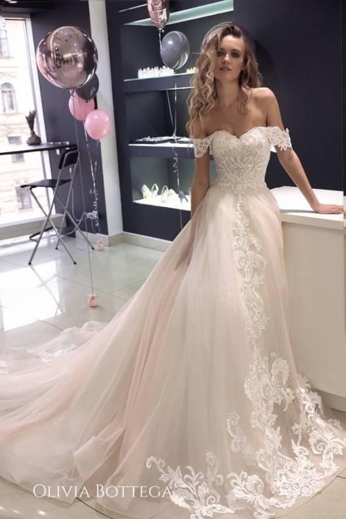 2019 Pink Wedding Dresses Olivia Bottega Off The Shoulder Satin Sweep Train Bridal  Gowns Beach Plus Size Robe De Mariée Bohemian Wedding Dresses Sexy