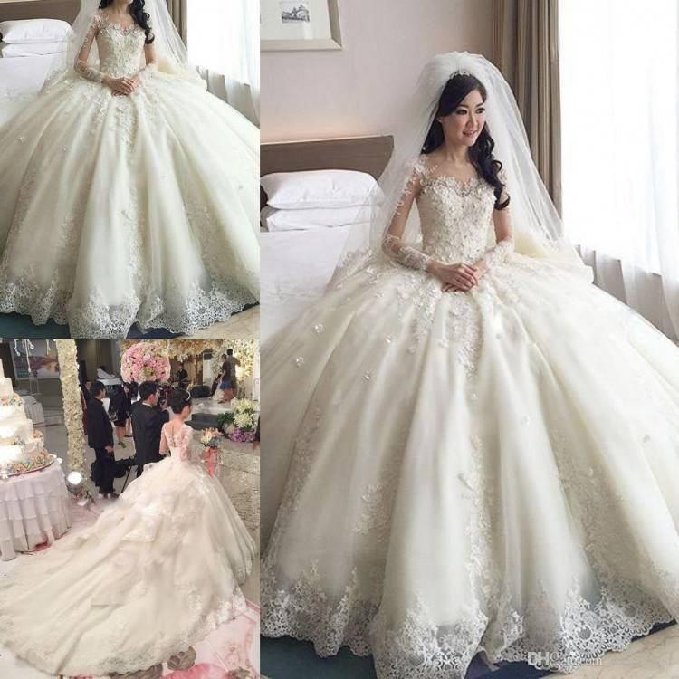 Sleeve Appliques Lace Ball Gown Wedding Dress