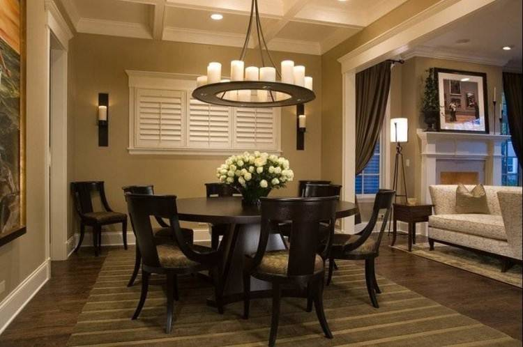 The soft glow of the chandelier over your dining room table