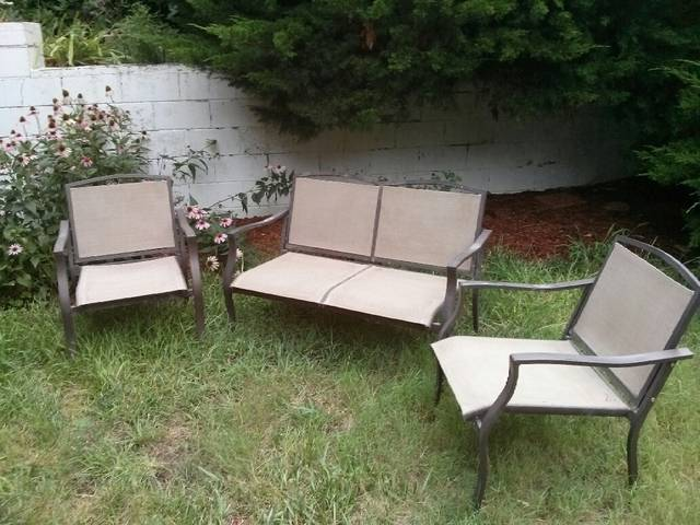 Our bistro sets, garden benches and larger patio sets can be found outside  in our plant area