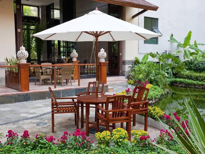 com : Armen Living SETODTO4 Toronto Outdoor Set in White and Brown  Rattan : Garden & Outdoor