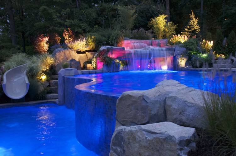 Pool design with outdoor lighting NJ