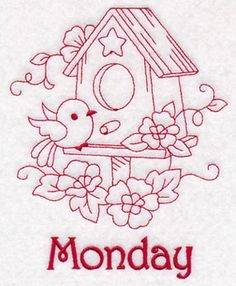 Redwork Midwest Farm House #3 Embroidery Design