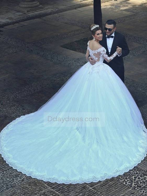 Luxury Lace Ball Gown Wedding Dresses Cap Sleeves Appliques Arabic Style  Plus Size Wedding Dress Bridal Gowns Custom Made Ball Gown Prom Dress Ball  Gown