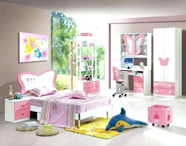 Cartoon flat design of teen children room furniture bed, drawer and chair  on carpet,