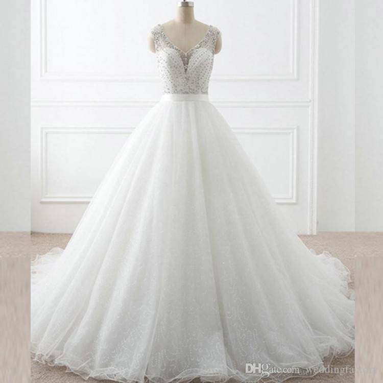 Discount 2018 New Sparkly Beading Top Wedding Dresses Organza Ruffles Bridal  Dress Elegant Summer Short Sleeves Beach Wedding Gowns 051 Wedding Gown  Rental