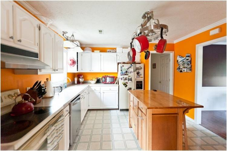 Two Tone Kitchen Cabinets Ideas Concept, with modern door design and  painted with combining color like in this images picture, Modern minimalis  orange
