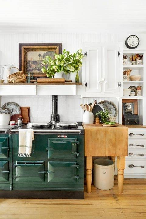 White kitchen dressed in frosted greens for  a festive touch