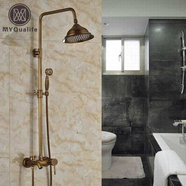 wall mount outdoor shower kits wall mount outdoor shower faucet antique  brass 8 rainfall shower mixer