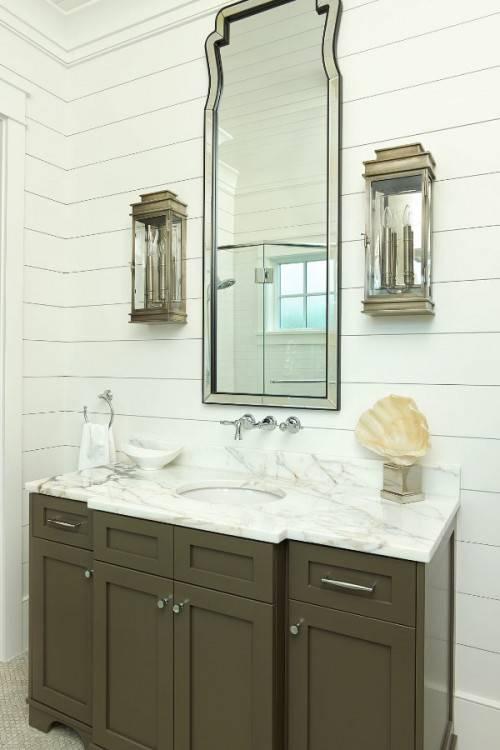 bathroom shiplap bathroom wall bathroom bathroom farmhouse with wood trim  wood trim metal basket bathroom bathroom