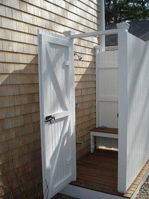 Outdoor shower with hot and cold running water