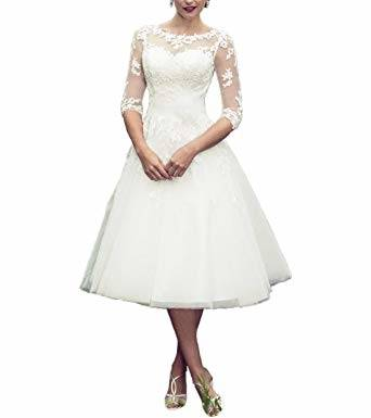 Discount 2018 New Spaghetti Straps Lace Short Wedding Dresses Satin A Line  Tea Length Backless Summer Beach Bridal Wedding Gowns With Buttons A Line  Wedding
