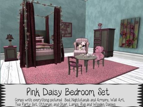 Daisy kids car bed and themed bedroom furniture suite with pink and white  striped linen and décor