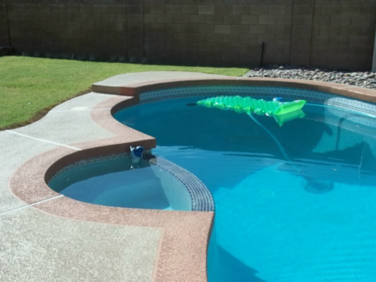 Swimming Pool Cool Deck Awesome Saftron Cross Braced Return to Deck  Water Handrail