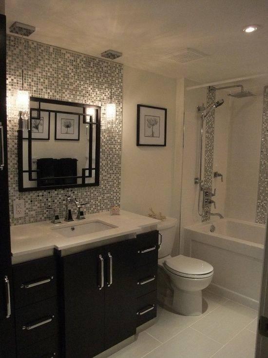 bathroom tile backsplash dark cabinets light gray walls white counters  bathroom mosaic tile backsplash ideas