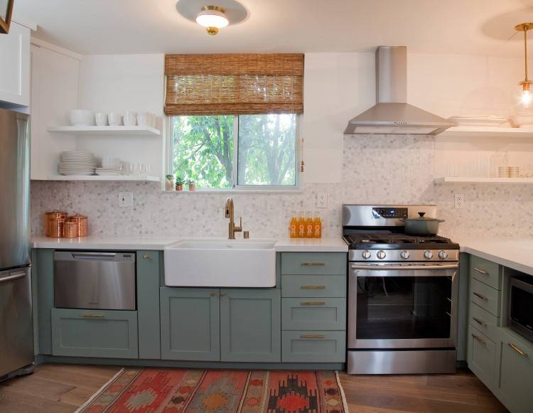 Finished Kitchen Cabinets Outstanding Green Distressed With Black  Countertop Finished Kitchen Cabinets