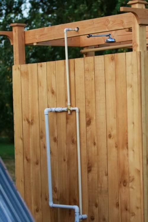 outdoor wood shower how to make