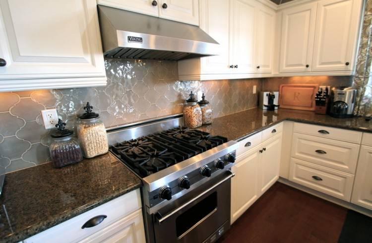White marble herringbone kitchen backsplash