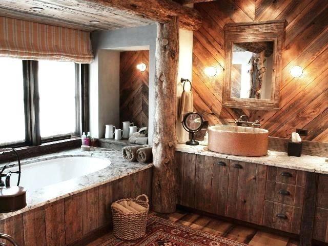 cabin bathroom ideas log