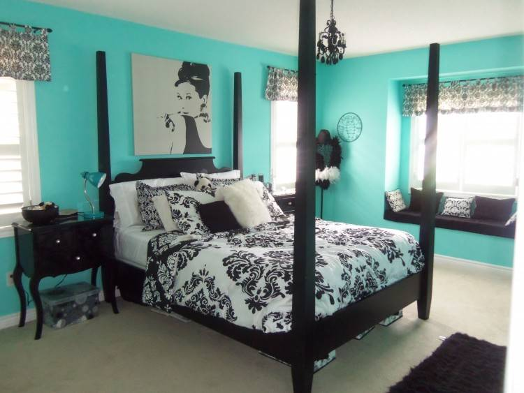 Fabulous Pictures Of Black And Blue Bedroom Design And Decoration Ideas  : Cozy Modern Black And
