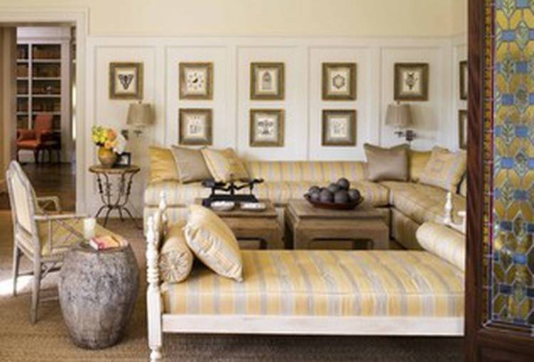 Living room with blankets laying  on furniture